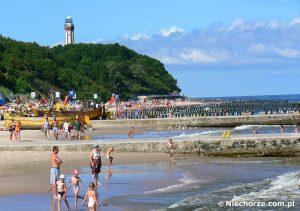 Niechorze plaża i latarnia morska